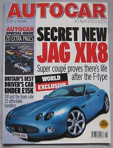 Autocar-magazine-30-4-2003-featuring-Lotus-Elise-135R-Alfa-Romeo-Spider-Jaguar