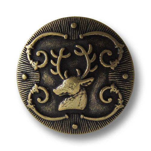 5 leicht gewölbte altmessingfarbene Ösen Metallknöpfe mit Hirsch Motiv 1476am