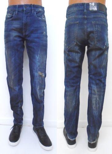 Men JORDAN CRAIG Premium Blue Wash Slim Fit Ripped Distressed Jeans Style JM3037