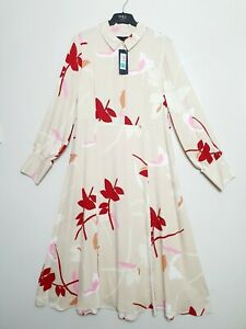 M-amp-S-Cream-Midi-Shirt-Dress-with-Red-Floral-pattern-Long-Sleeves-Size-14-22-24
