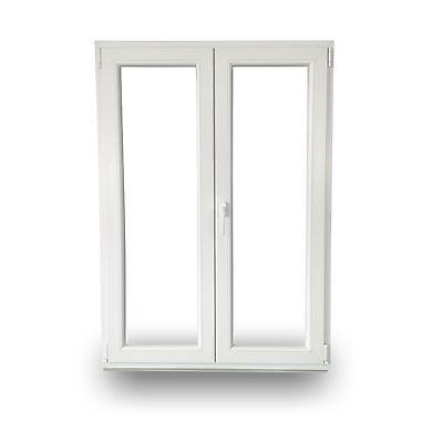 rechts 6 Kammern | wei/ß Kunststofffenster Zweifl/ügelige ohne Pfosten 140x110 cm 1400x1100 mm