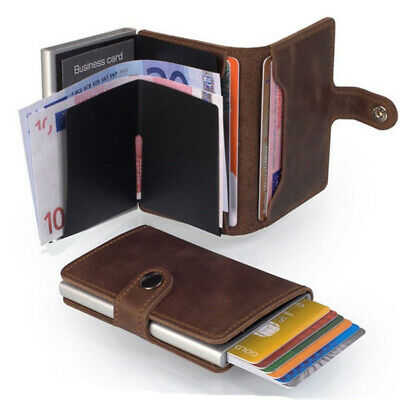 Genuine//Faux Leather Credit Card Holder RFID Blocking Pop-up Wallet Money UK