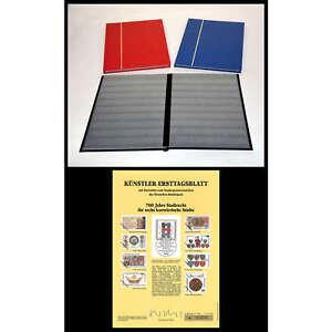Briefmarkenalbum Einsteckbuch 2x A4/16 schwarze Seiten + Künstler Ersttagsblatt