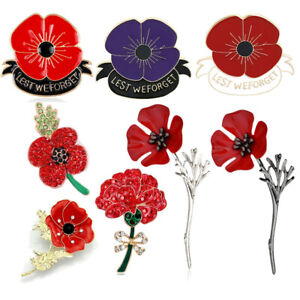 Poppy Brooch Pin Red Flower Broach Memorial Day Remembrance Day