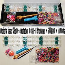 kit de création bracelet boite de jeu type rainbow loom crazy loom crochet metal