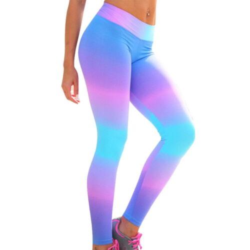 Women Sports Slimming Yoga Pants Colorful Print Trousers Hip Running Leggings GW