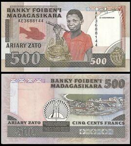 MADAGASCAR 500 FRANCS 1988 P 71 AC PREFIX AUNC ABOUT UNC