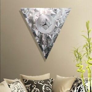 Statements2000 Metal Wall Clock Art Mid Century Modern Silver Decor by Jon Allen