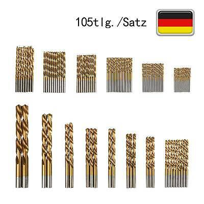 Spiralbohrer HSS TIN Metallbohrer 105tlg//set ⌀1,5mm~10mm Holzbohrer Bohrersatz