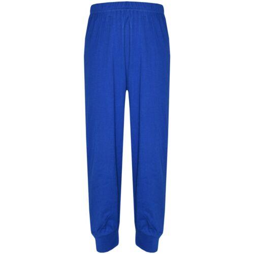 Kids Girls Boys Pjs Contrast Royal Blue Color Plain Stylish Pyjamas Set 2-13 Yrs
