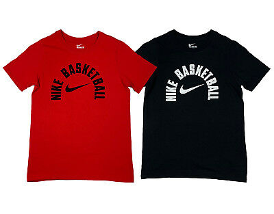Nike Boys Basketball Swoosh Arch Cotton Graphic Shirt Red//Black