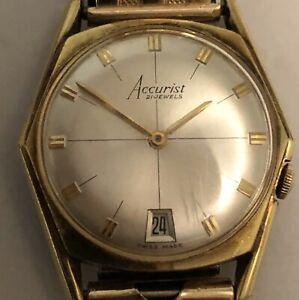VINTAGE-SWISS-ACCURIST-21-JEWEL-GOLD-PLATED-WATCH-Mechanical-Wind-Wristwatch