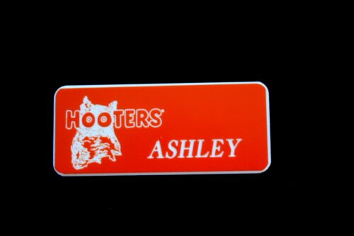 Ashley Hooters Girl Uniform Name Tag Pin Badge Halloween Costume Accessory