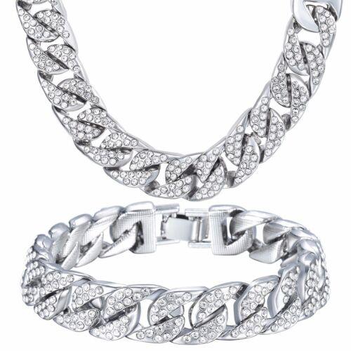 Curb Cuban Femmes Hommes Lien Collier Bracelet Chaîne Or Jaune Rempli Bijoux Set