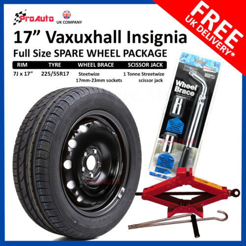 """current TOOL KIT VAUXHALL INSIGNIA 2017- 17/"""" FULL SIZE STEEL SPARE WHEEL TYRE"""