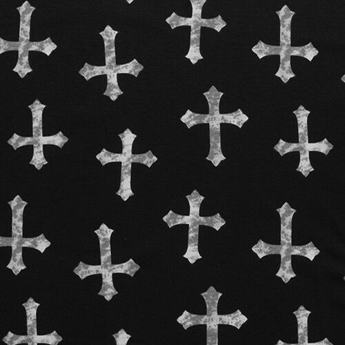 Stamped Gothic Celtic Cross on Black Cotton Blend Scarf Gift for Women
