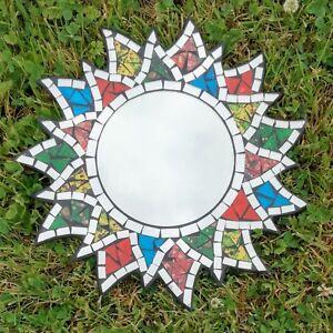 Mosaic-Sun-Mirror-Glass-Rainbow-Wall-Hanging-Fair-Trade-Multi-Coloured-Sunburst