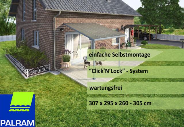 Palram Terassenüberdachung Terrassendach Feria 3x3 Wetterschutz grau Neu/Ovp