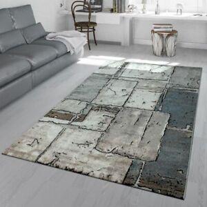 Details zu Wohnzimmer Teppich Grau Steinboden Optik Karo Muster Fliesen  Design 3-D Look