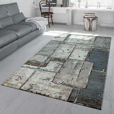 Wohnzimmer Teppich Grau Steinboden Optik Karo Muster Fliesen Design 3-D  Look | eBay