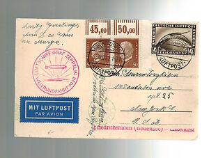 1929 Deutschland Graf Zeppelin Welt Flight Picture Postkarte Abdeckung zu USA
