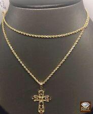 "10k Yellow Gold Rope Chain 24"" Rope Chain,2mm & Diamond Cuts Cross 1.3 "" Charm"