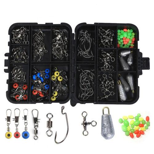 160Pcs Pro Fishing Accessories Kit w// Tackle Box For Outdoor Swivels Hook Sinker