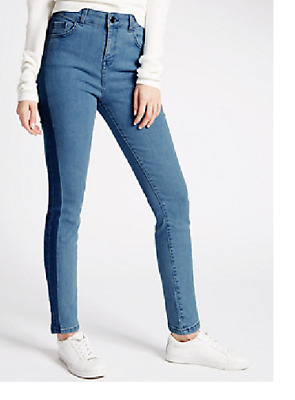 M/&S Limited Edition Skinny Fit Ankle Grazer Laser Stripe Stretch Med Blue Jeans
