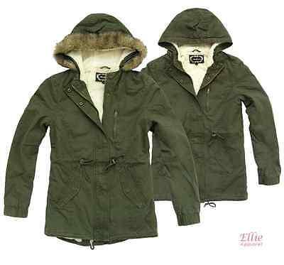 Ambiance Womens Military Army Hooded Sherpa Lining Drawstring Parka Jacket Coat