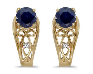 10k-Yellow-Gold-Round-Sapphire-And-Diamond-Earrings