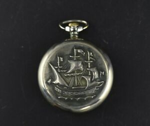 Pocket Watches Antique Realistic Molnija Ship Open Face Men's Pocket Watch Ussr 18 Jewels Sale Price