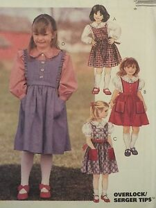 PATTERN 2-3-4//4-5-6 UC OOP McCALLS 7598 Tdlrs//Girls Jumper /& Jumpsuit~8 Looks