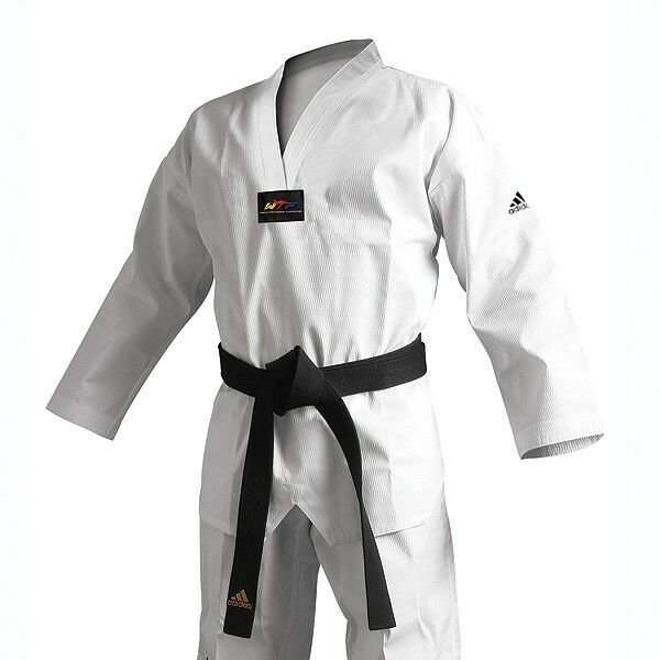 New adidas Taekwondo Uniform ADICHAMP 3 TKD Dobok Set -Weiß w Weiß V-Neck