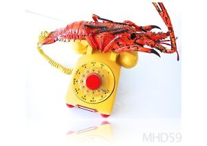 Telephone-Western-Electric-YELLOW-Rotary-SPINY-LOBSTER-LIMITED-vintage