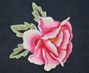 15cm-PEONY-PINK-ROSE-FLOWER-Embroidered-Sew-Iron-On-Cloth-Patch-Badge-APPLIQUE