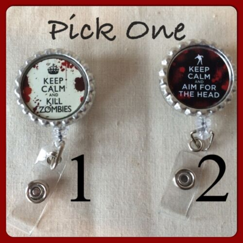 Keep Calm /& Kill Zombies Aim For The Head Retractable Reel ID Badge Holder