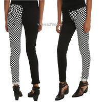 Royal Bones Tripp Checkerboard Split Black & White Skinny Pants Jeans Jrs. 1-3-5