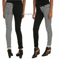 Royal Bones Tripp Checkerboard Split Black & White Skinny Pants Jeans Jrs. 1-3-5