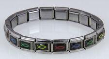 4030334 Silver Metal Christian Fish Stretch Bracelet Links