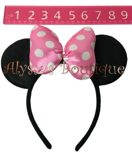 10 PCS Minnie Mouse Ears Headbands Pink Puffy Black Polka Dot Bows Mickey Party