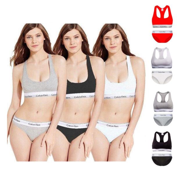 Calvin Klein Womens Underwear Bralette Brief Set Racerback Bra and Bikini
