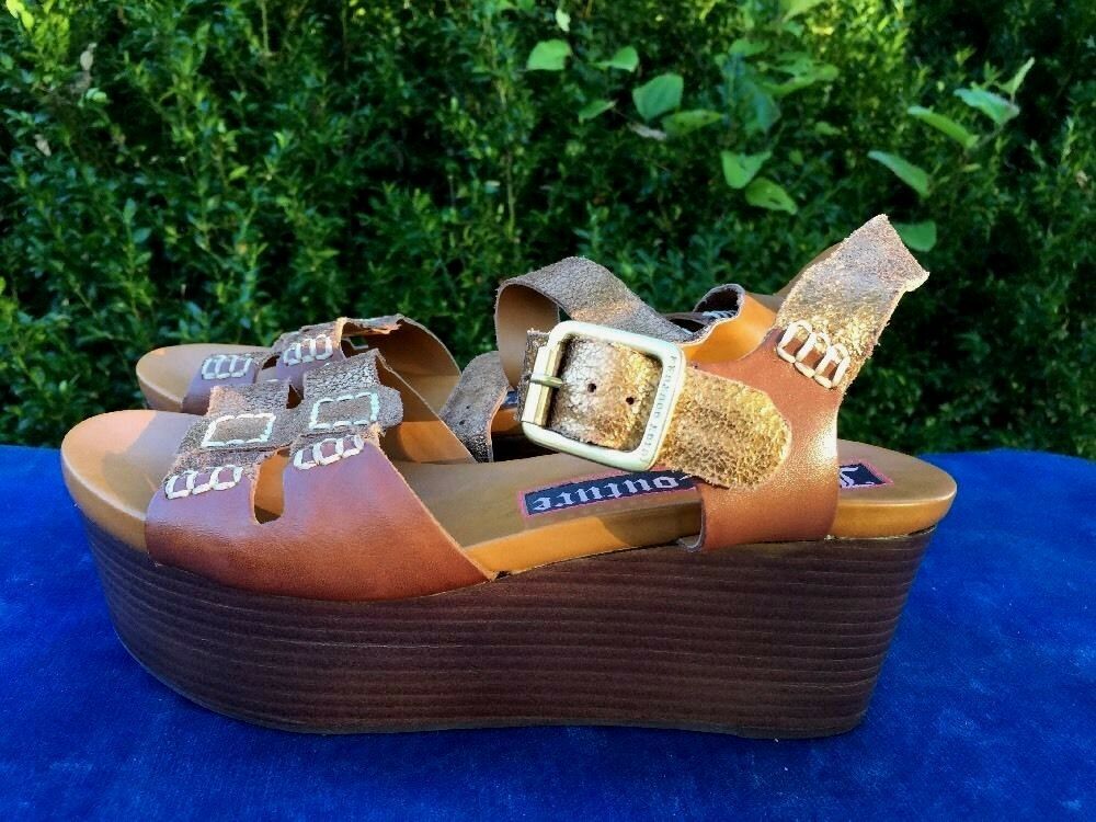 JUICY COUTURE Bronze gold High Heels Platforms Wedges Size 6 Made In Brazil NEW