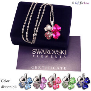 Collana-donna-argento-Swarovski-Elements-originale-G4Love-cristalli-quadrifoglio