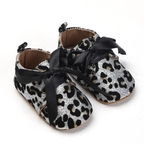 Toddler Baby Girls Lace-Up Sequins Shoes Leopard Up Slip Lace Bow Tie Sneaker