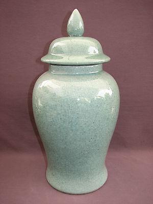 """19"""" Chinese Crackle Porcelain Green Celadon Lidded Ginger Temple Baluster Jar"""