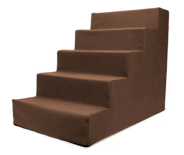 4 Step Chocolate Brown Suede Pet Dog Cat Stairs Navigate Climbing with Ease New