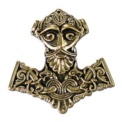 Bronze Thors Hammer Mjolnir Pendant Dryad Design   Asatru Norse Viking Runes