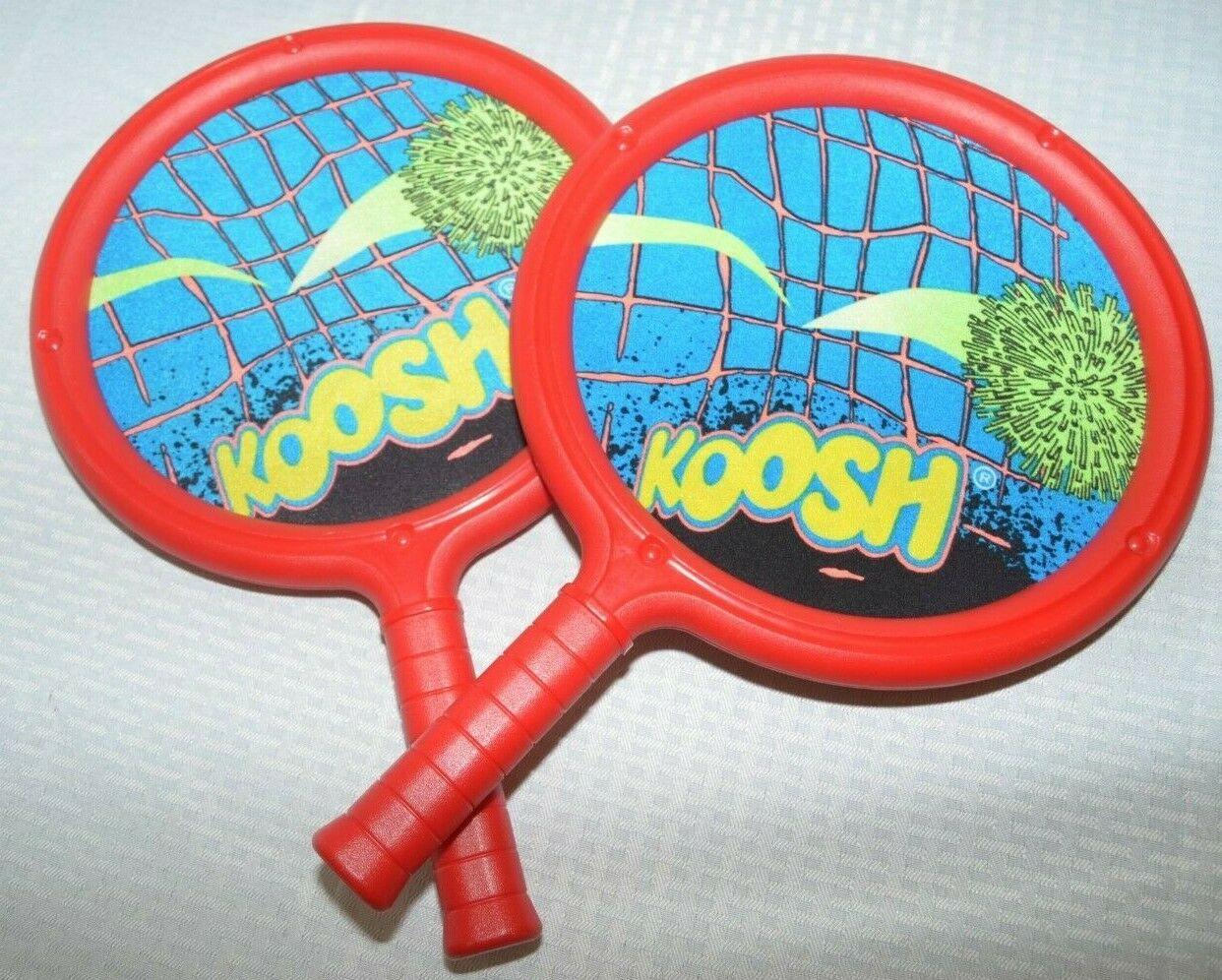 2 Vintage Koosh Ball Paddles Raquet 1991 Oddzon Family Outdoor Game RED