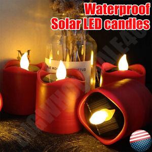 6 pcs Solar Powered LED Candles Flameless Electronic LED Tea Lights Lamp UK