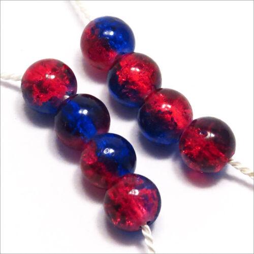 Lot de 50 Perles Craquelées en Verre 6mm Bicolore Bleu Rouge